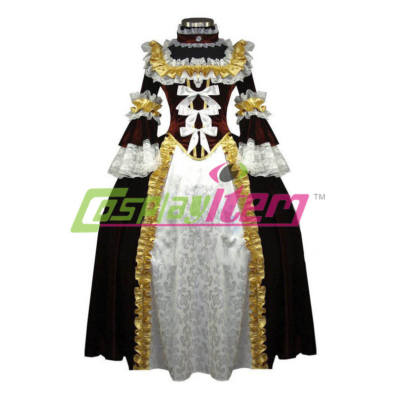 New Arrival customized Long Puff Sleeve ROCOCO Ball Grown Gothic Medieval Victorian Golden Dress Costume With RuffleОдежда и ак�е��уары<br><br><br>Aliexpress