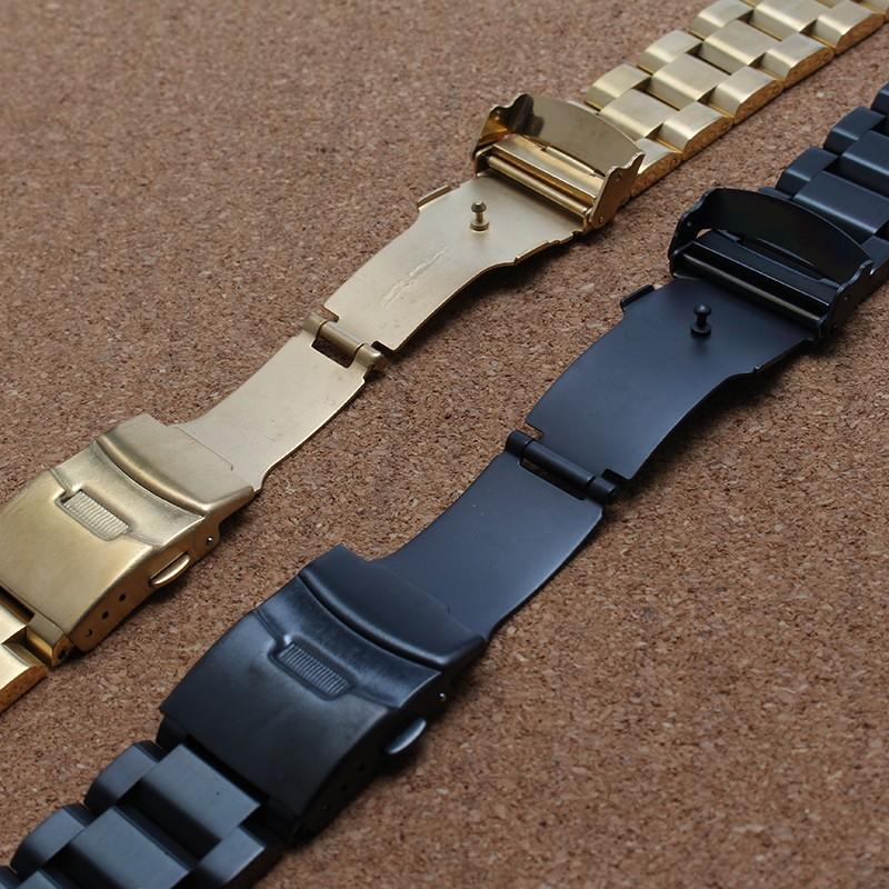 2016 нержавеющая сталь смотреть band для бренда смотреть ремешок ремешок твердые ссылки браслет аксессуары черное золото 18 мм 20 мм 22 мм 24 мм новый