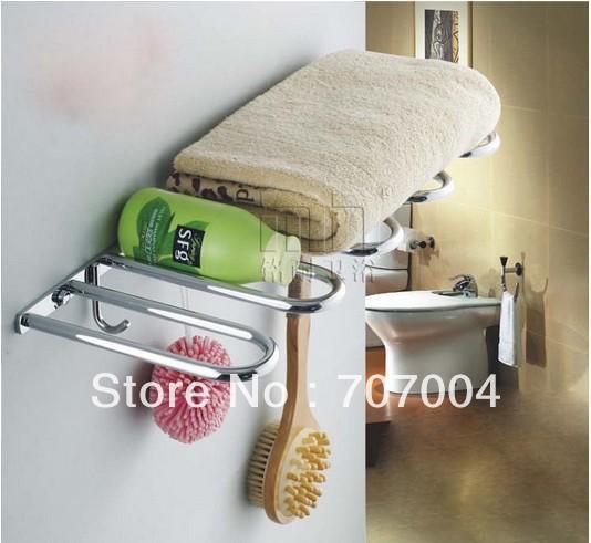 Bathroom Brass Wall Mount Chrome Cloth Towel Racks Shelf Towel Holder Commodity Shelf Unique Design(China (Mainland))