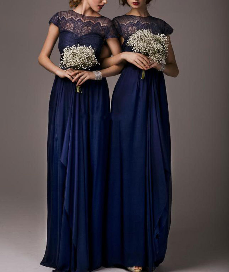 Navy blue chiffon lace bridesmaid dresses 2015 sheer high for Navy dresses for weddings