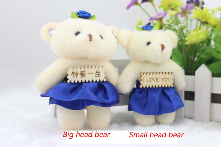 Girl toys 8pcs/lot New arrival diamond lovely teddy bear 12CM pp cotton kid toys plush doll hold flower small gifts wedding(China (Mainland))