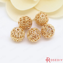 Buy 6PCS 11MM 24K Champagne Gold Color Plated Brass Hollow Spacer Beads Bracelet Beads High Diy Jewelry Accessories for $3.70 in AliExpress store