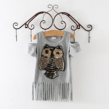 Sequins Owl Kids girls T shirt Short sleeve children t shirts for girl top clothes clothing Summer Spring(China (Mainland))
