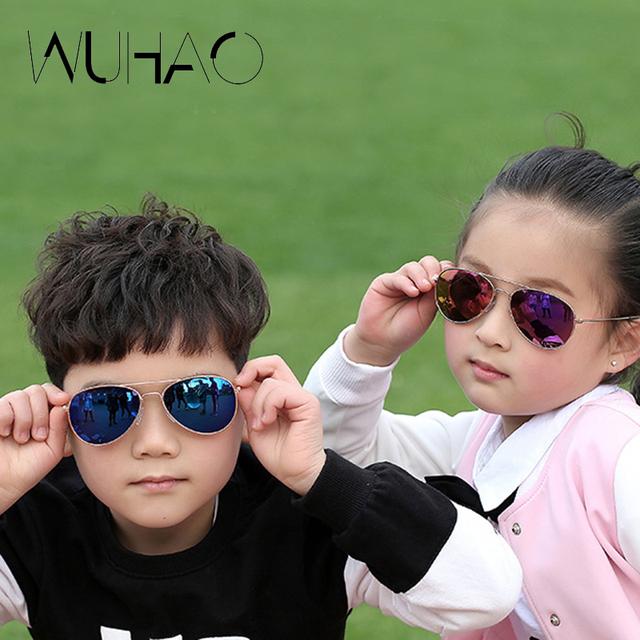 2016 Мальчиков и девочек Пилотные Солнцезащитные Очки Модный Бренд Дизайнер Дети детские дети Солнцезащитные Очки Прохладный Открытый UV400 Óculos WH317