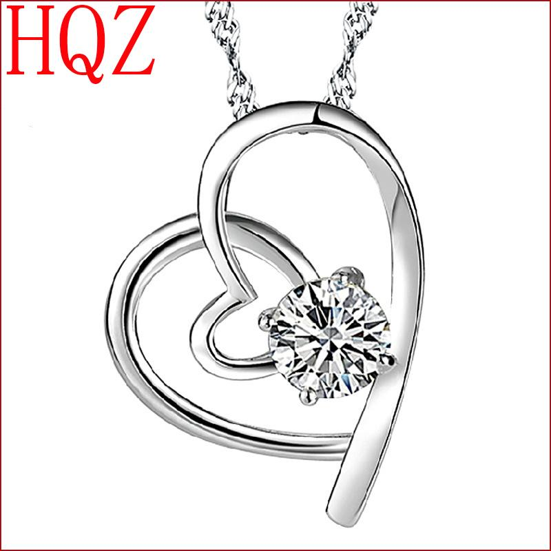 Hot high quality fashion jewelry silver heart-shaped pendant crystal jewelry manufacturers wholesale lovely lady(China (Mainland))