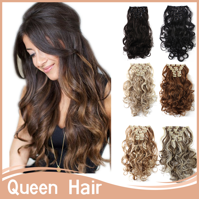 22Colors Clip in Hair Extensions 7pcs/set 20inch 50cm Long Hairpiece Curly Wavy Heat Resistant Synthetic Natural Hair Extension(China (Mainland))
