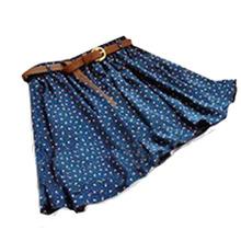4 Colors Pleated Floral Chiffon Women Ladies Cute Mini Skirt Belt Include WF-38830