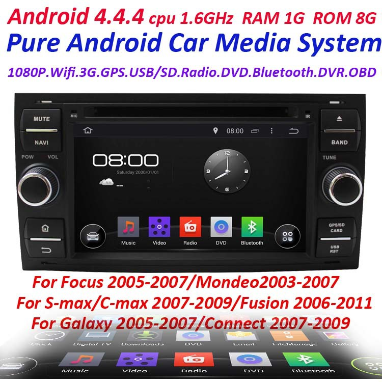Pure Android 4.4 2 Din Car GPS for ford focus 2005-2007 mondeo 2003-2007 cmax s-max gulaxy fusion connect with WIFI 3G GPS(China (Mainland))