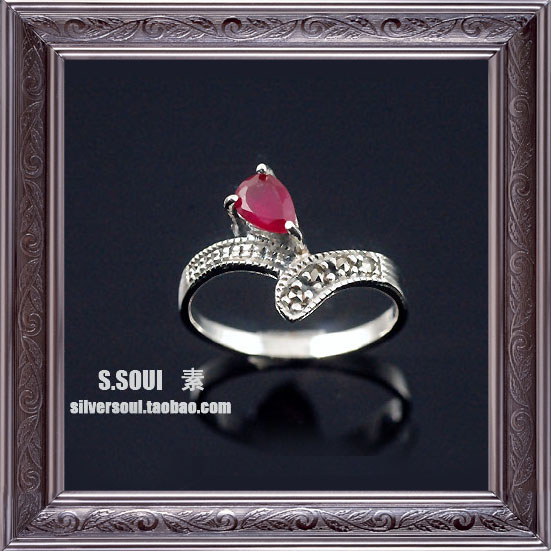 Thailand silver 925 pure silver inlaying mark race ruby drop women's ring pinky ring(China (Mainland))