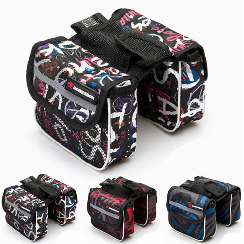 MTB outdoor bike bag bicycle front frame tube bag portable double side bag fashion cycling pannier free shipping(China (Mainland))