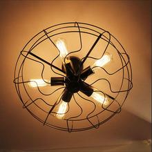 Industrial Hooked Edison Bulb Loft Vintage Ceiling Fan with lights kit for Dining room restaurant Decoration Bird Nest Light(China (Mainland))