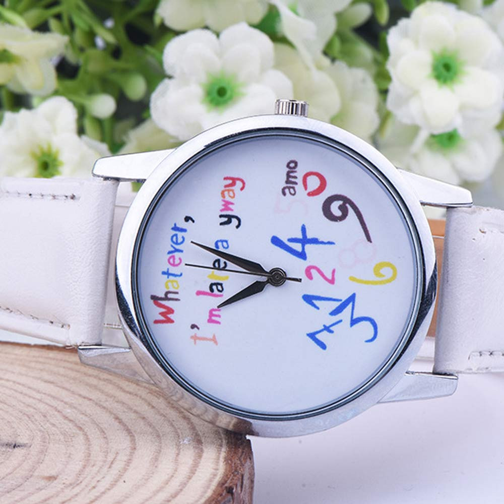 Creative Cute Little Fresh Wrist Watch Women Whatever I'm Late Anyway Casual Quartz Watches Best Gift For Girls relogio feminino