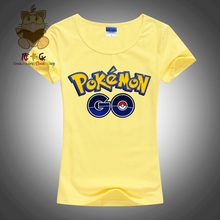 2016 hot mobile game Pokemon GO logo high quality printing girl's t shirt pokemon trainer t shirt AC124-G
