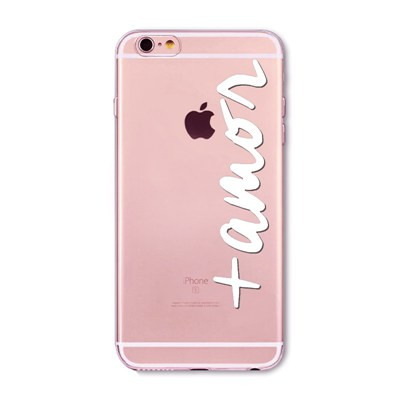 New Arrival Transparent Soft Phone Case For iphone 6 6S Plus Rose Gold Sliver Portuguese Words Love Amor Design Back Cover Capa