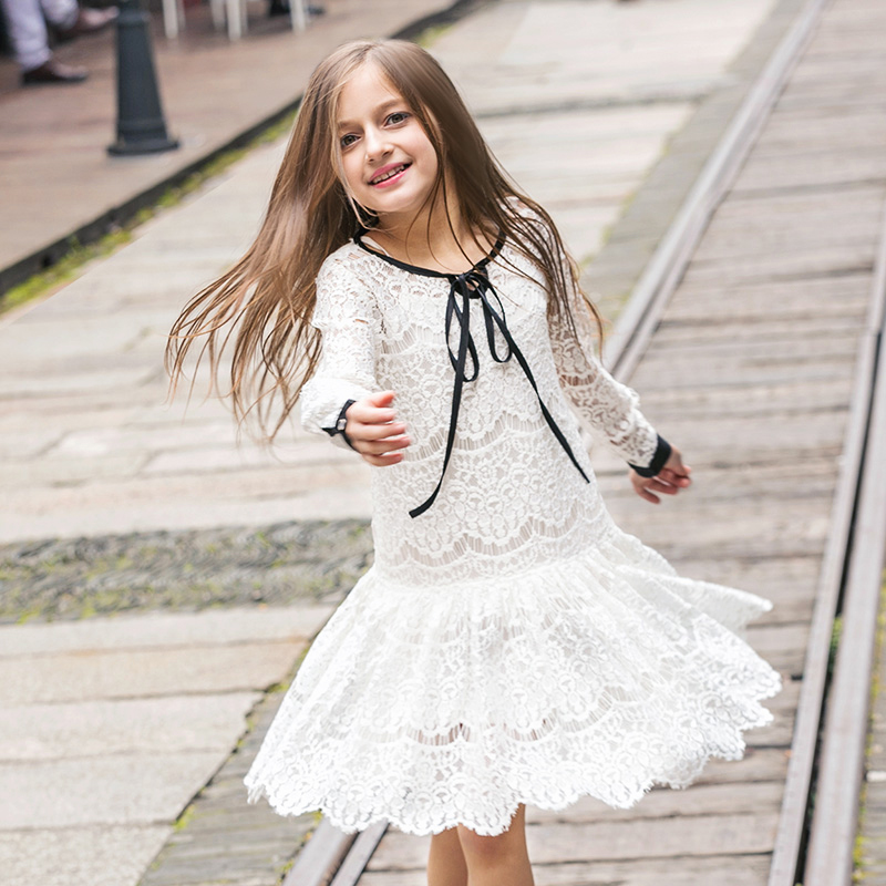 Girls Dresses Lace 2016 Spring Children's Clothes Kids Dresses Long Sleeved Princess Style Holiday Party Wedding(China (Mainland))