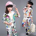 Girls Clothes 2016 Spring Autumn Children Clothing Sets Sport Print Coat Jackets Outerwear PantsTwo Piece Kids