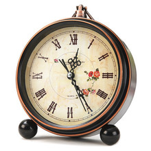 Creative Student Bedroom Bedside Mute Clock Small Electronic Alarm Desk Clock European Retro Nostalgia Table Clock(China (Mainland))