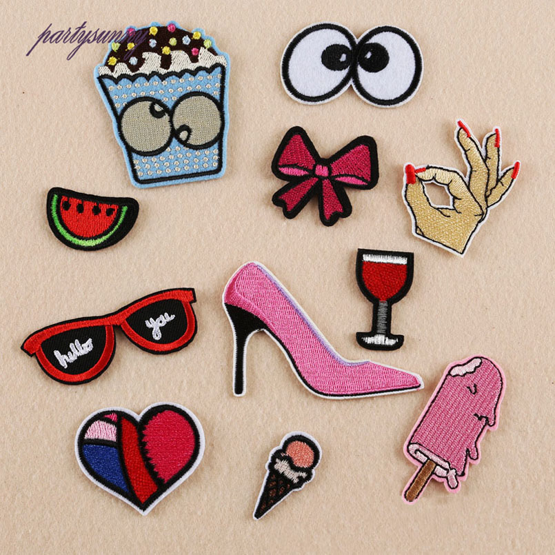 Glasses High Heels Embroidery Patches Love OK Gesture DIY Stripes Patch Iron on Clothing Jacket Hat Bag Applique Crafts TB049(China (Mainland))