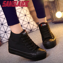 SANGLAIDE Shipping Free Autumn All Black High Cut Shoes Height Increasing Casual Women Shoes Student Plimsolls 3 cm Platforms