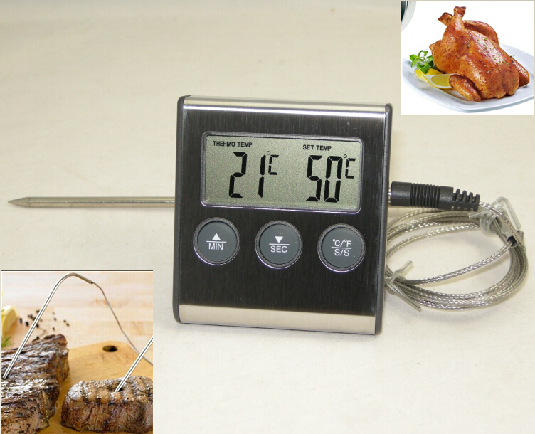 Digital Cooking Thermometer with Probe For Meat BBQ&Kitchen Food, Also used on Oven/Smoker/Microwave/Water/Milk..Instant Read(China (Mainland))