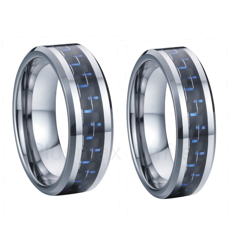 lifetime warranty 8mm 6mm blue carbon fiber tungsten carbide rings jewelry wedding bands promise - Tungsten Wedding Ring Sets