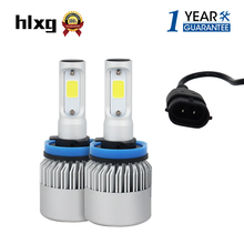 Buy hlxg S2 Auto Car H8 H11 H9 LED Headlights 2X36W 6500K 8000LM 12V COB Bulbs 2sides Diodes White Automobiles Replace Parts Lamp for $18.16 in AliExpress store