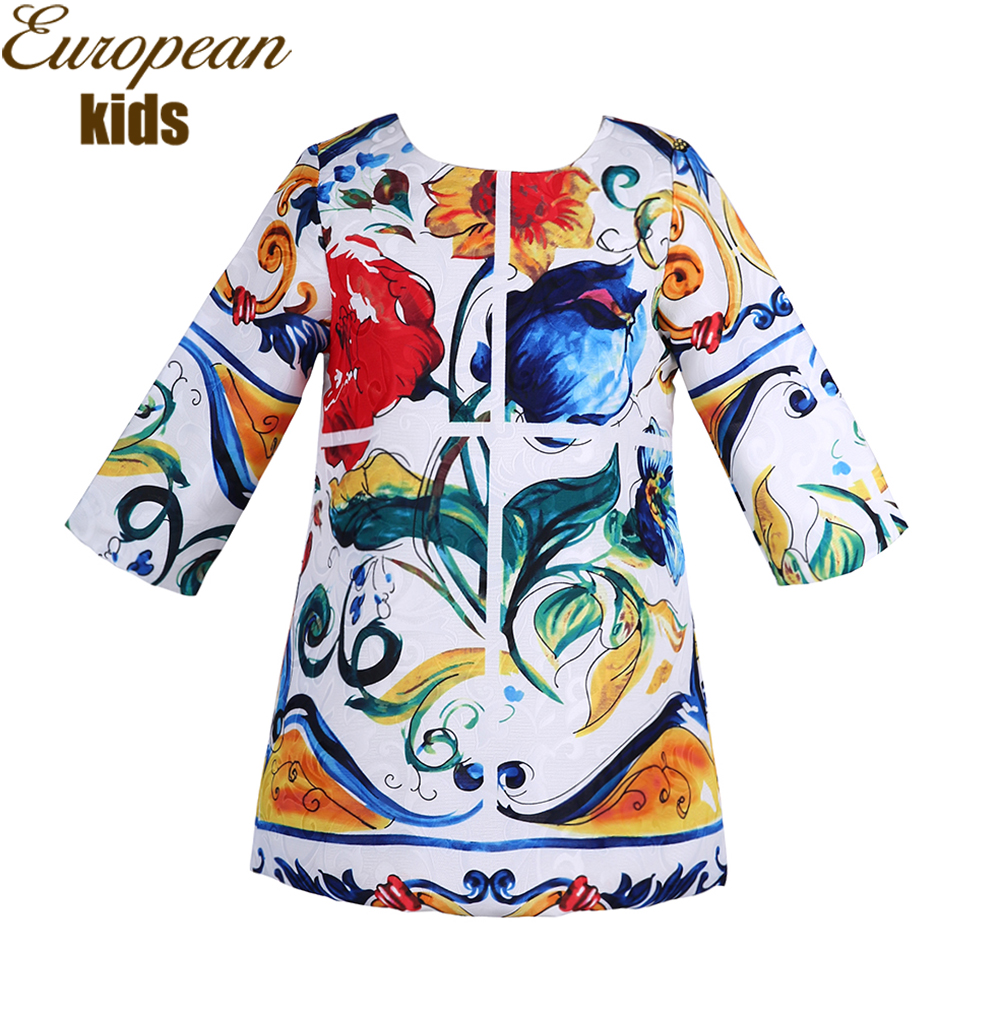 Baby Girl Dress 2017 Brand Long Sleeve Princess Dress Girls Clothing Majalica Print Toddler Dress Kids Clothes Vetement Fille(China (Mainland))