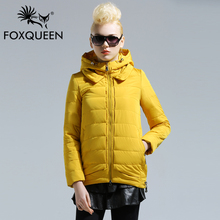 Fox queen 2016 New Arrive Ladies Long Design Coat Women Spring Cotton Padded Thin Slim Coat