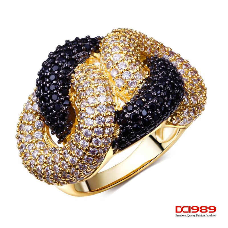 DC1989 18k Gold Plated Black & White Contrast Women Rings Top Quality Cubic Zircon Bridal Engagement Jewelry(China (Mainland))