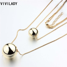 Buy VIVILADY Fashion Metal Chain Layers Round Beads Balls Long Tassels Necklaces Women Costume Bijoux Accessory Mother Day Gift for $2.38 in AliExpress store