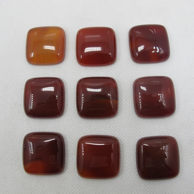Natural Red Agate Carnelian 25mm Square Gem stone Jewelry Cabochon Ring Face Necklace pendant 20pcs/lot