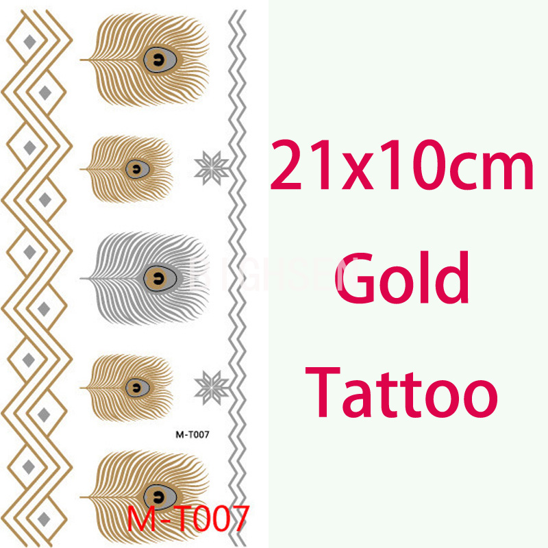 21x10cm Feather Gold Tattoo Waterproof Flash Tatoos Metallic Gold And Silver Tattoo Body Art Stickers Temporary Tattoos BMT0007(China (Mainland))