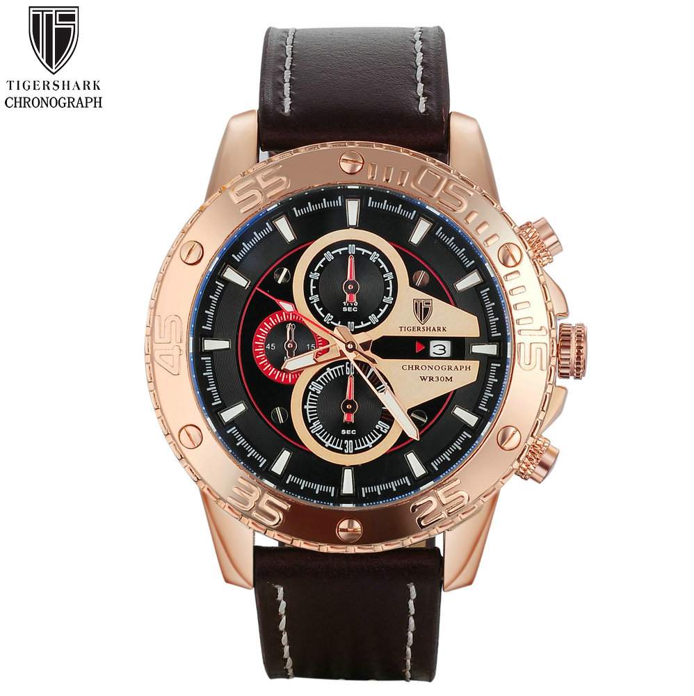 Гаджет  Tigershark big dial watches men chronograph fashion casual business quartz watches date clock sport watches leather wrist watch None Часы