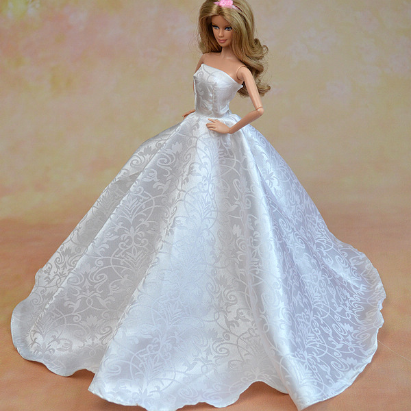 Pure White Formal Wedding ceremony Costume For Barbie Dolls Occasion Costume + Hat Lace Vestido Robe For 1/6 Dolls Garments