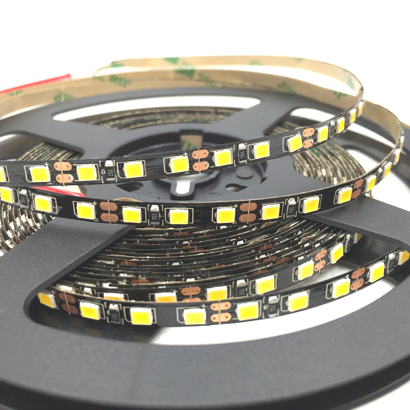 BLACK PCB 5mm Width 2835 SMD flexible led strip light 120led/m DC12V white Non-Waterproof warm white 5m ribbon tape light(China (Mainland))
