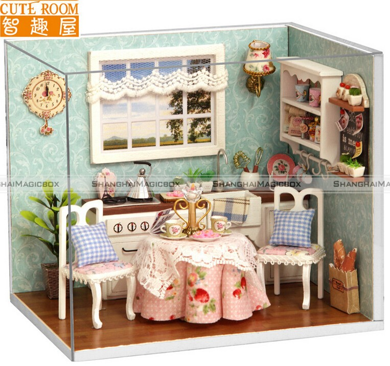 New Dollhouse Miniature DIY Kit with Cover and LED Wood Toy Dolls House Room 70715306 Without Original packaging(China (Mainland))