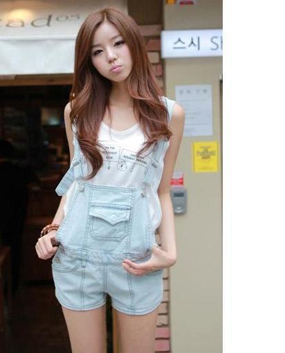 Women's Casual Jumpsuits Hooded hole Strap denim Washed jeans shorts nostalgia shorts girls shorts pants(China (Mainland))