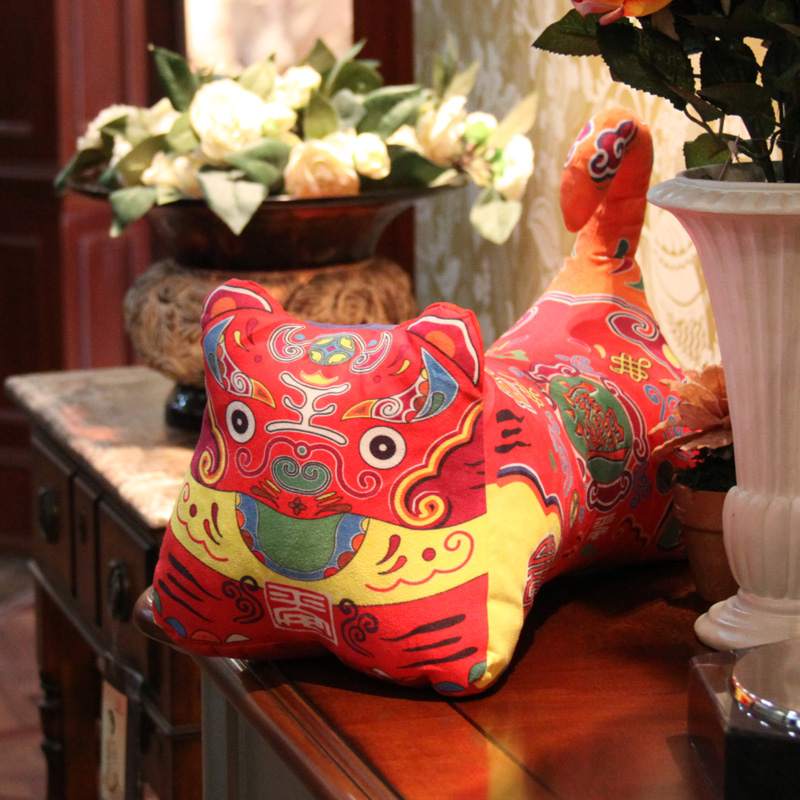 Gododo jumbo tiger pillow traditional plush cloth doll tiger doll toy gift about 35cm(China (Mainland))