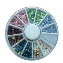 1 wheel of 6 colors mixture opal color pointed back nail art glass rhinestone glitter decoration(China (Mainland))