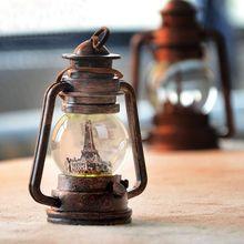 14CM European Style Romantic Resin Candle Holders 1PC Creative Retro Crystal Ball Eiffel Tower Lantern Handicraft(China (Mainland))