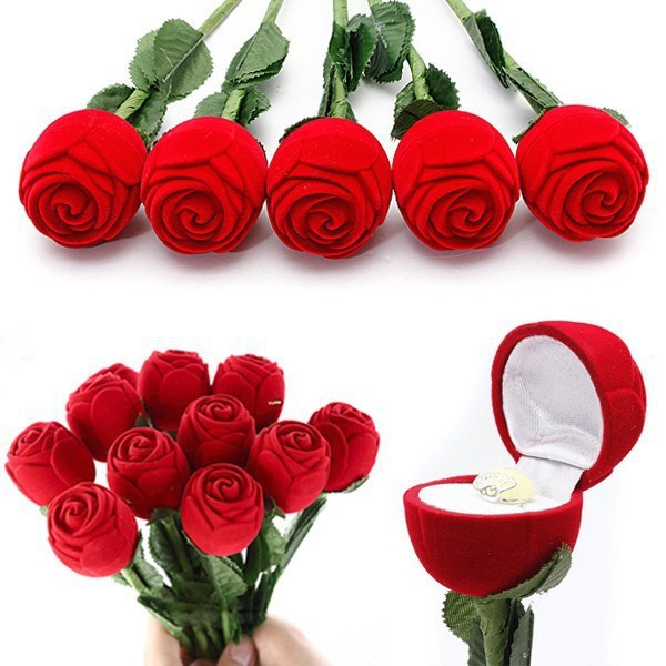 Unique Red Rose Engagement Wedding Ring Earrings Jewelry Display Gift Box Case Valentine lover's gift Storage Holders Organizer(China (Mainland))