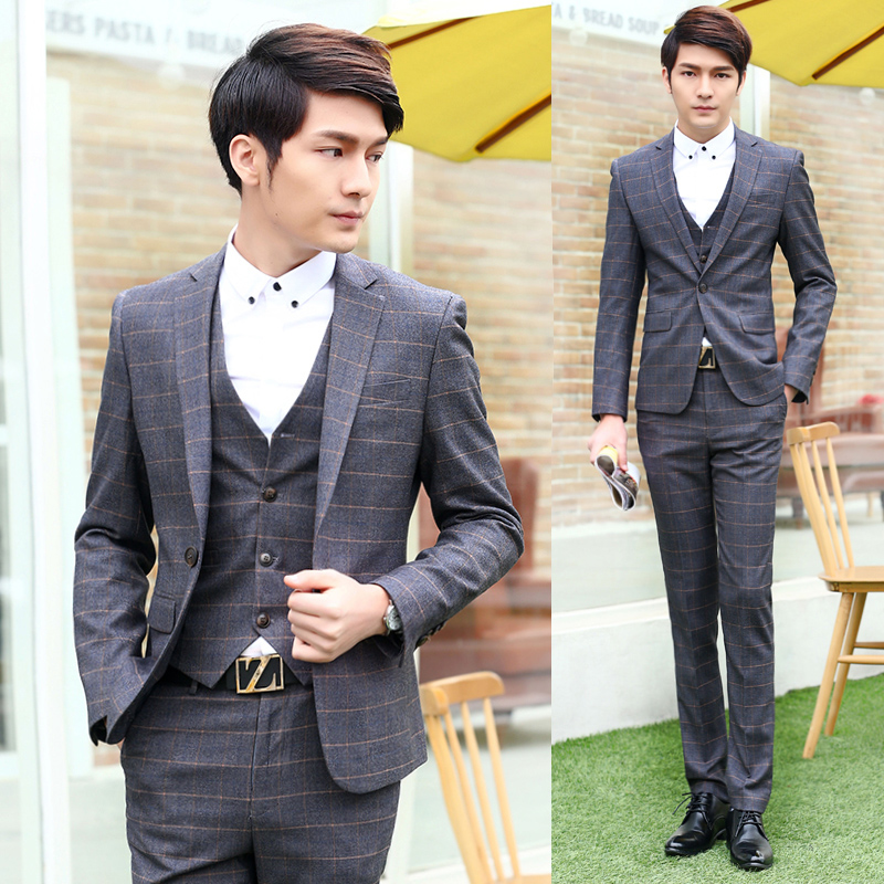 Wedding Suits For Men 3 Piece Formal Slim Fit Blazer Vest Classic Suits Tuxedo Groom Dress Business Plaid Suits Coat Pant XY15Одежда и ак�е��уары<br><br><br>Aliexpress