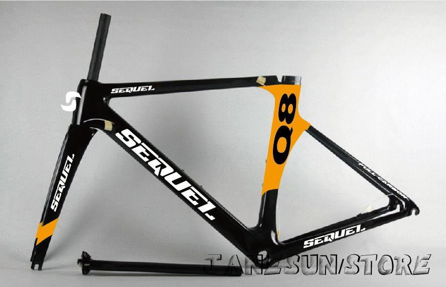 Factory DC006 SEQUEL brand orange color bike road frame carbon bike frame carbon road china racing bike OEM T800 700C rims(China (Mainland))