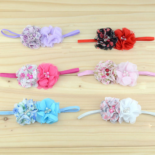 1 PC Retro Vintage Baby Girls Lace Double Flowers Pearl Floral Rhinestone Hairband Headband Hair Band Accessories(China (Mainland))