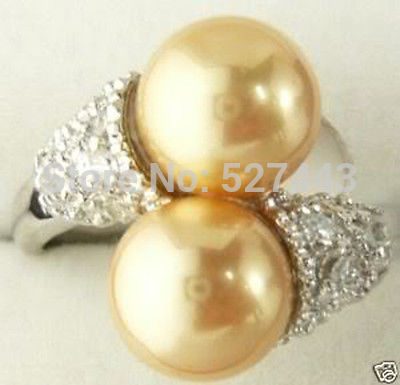 Wholesale free shipping >>Superb 18K GP Golden South Shell Sea Pearl Ring Size 8 AAA(China (Mainland))