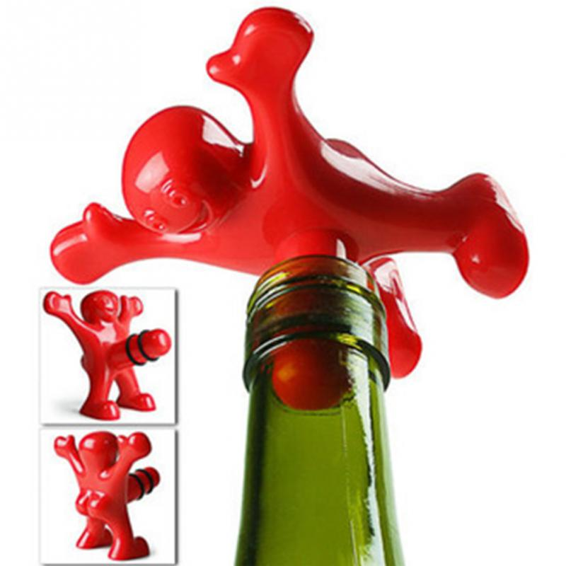Personalized Kitchen Bar Red Fun Happy Man Wine Beer Soda Bottle Plug,Multifunction Novelty Bottle Stopper Great Gift(China (Mainland))