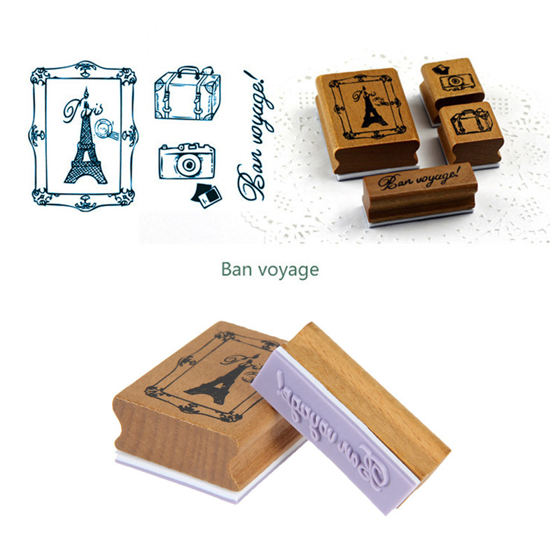 Wooden Rubber Stamp Box Set Brand New Retro DIY happy time style diary Free shipping(China (Mainland))