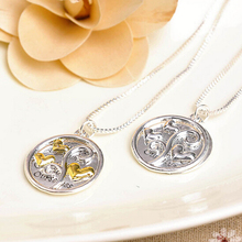 Factory price! top quality 1pcs/bag gold/silver love heart coin with girlfriends letter pendant necklace woman chain necklace(China (Mainland))