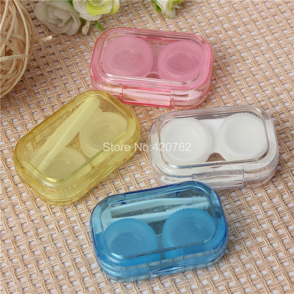 1PCS New Portable Mini Transparent Contact Lens Case Storage Box Holder Container 4 Colors(China (Mainland))