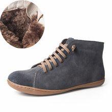 Phụ nữ da cừu natrual da bình thường mắt cá chân Khởi Động mùa đông chất lượng Thoải Mái mềm handmade phẳng Giày màu xanh vàng khởi động với lông thú(China)